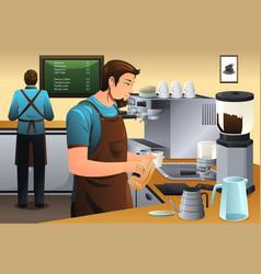 barista preparing drip coffee vector image