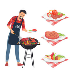 Bbq barbecue man grilling meat vector