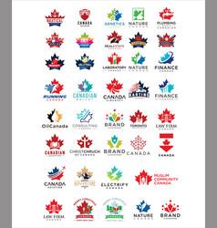 Big set canadian logo design collection vector
