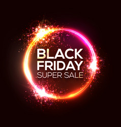 black friday sale banner in neon circle logo vector image