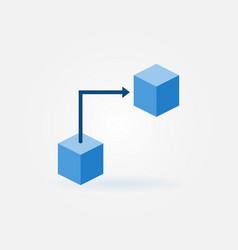 blockchain technology concept flat blue icon vector image