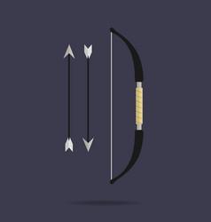 Bow and arrows icon archery weapon ninja vector
