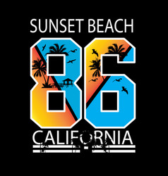 California sunset beach vector