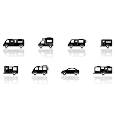 Caravan or camper van icons set vector