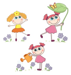 Cartoon Girl set vector