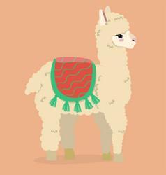 Cartoon llama on an orange background vector