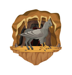 Cave interior scene with hippogriff greek vector