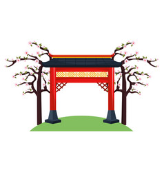 Chinese red gate vector