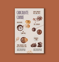 Chocolate homemade making with cocoa branch trees vector
