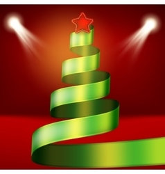 Christmas tree from green ribbon and star EPS 10 vector