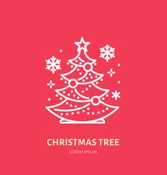 christmas tree pine new year decoration flat vector image