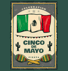 Cinco de mayo mexican holiday retro banner vector
