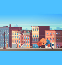 City building houses view skyline background real vector