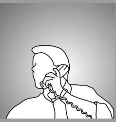 close-up businessman using retro telephone vector image