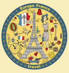 Color travel 2 to europe france symbols and vector
