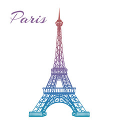 Colorful eiffel tower on white backgound vector