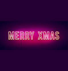 colorful merry christmas neon sign banner vector image