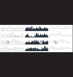 complex line continuous line and flat black city vector image