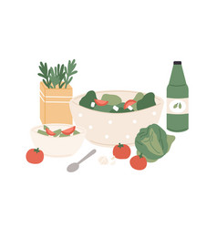 composition fresh vegetable salad and juice vector image