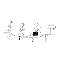 Conceptual cartoon of business teamwork vector