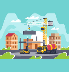 Construction big building with heavy machinery vector