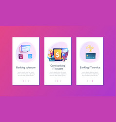 Core banking it system app interface template vector