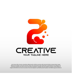 Creative logo with initial number two 2 vector