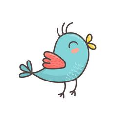 cute blue bird isolated element flying bird vector image