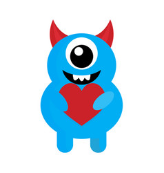 cute monster with red heart love vector image