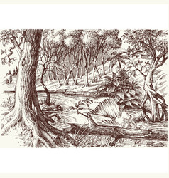deep forest hand drawing artistic nature vector image