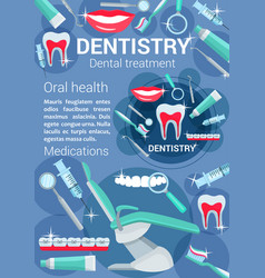 Dentistry treatment poster dental accessory vector