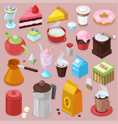 dessert cake drink coffee or tea with baked vector image