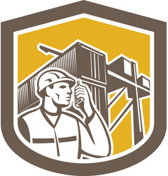 Dock Worker on Phone Container Yard Shield vector