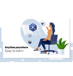 e-learning student learning online uses digital vector image