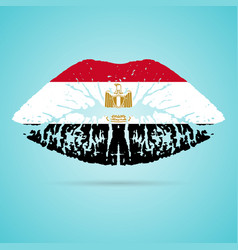 egypt flag lipstick on the lips isolated on a vector image