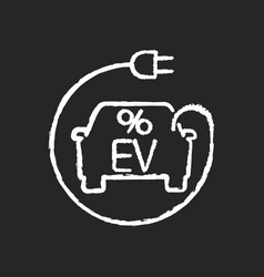Electric car tax credit chalk white icon on black vector