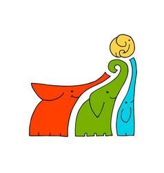 elephants family design vector image