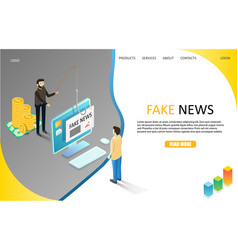 Fake news landing page website template vector
