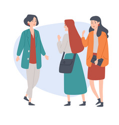 female students young people talking to each vector image