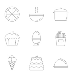 Festive food icons set outline style vector