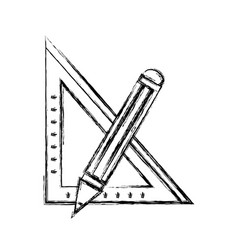 Figure square ruler with pencil school tools vector