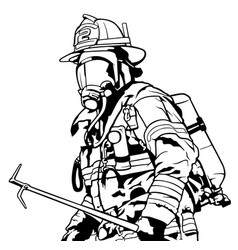 Fireman with mask vector