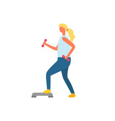 fitness woman in gym with dumbbells in hands vector image