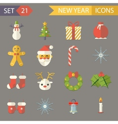 Flat Design New Year Symbols Christmas Accessories vector image