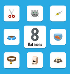 Flat icon animal set of fishbowl shears fish vector