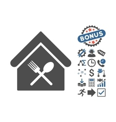 Food Court Flat Icon With Bonus vector image
