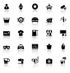 Franchisee business icons with reflect on white vector image
