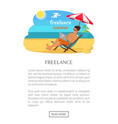 Freelance summer poster with push button read more vector