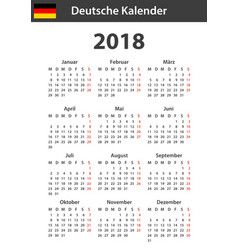 German calendar for 2018 scheduler agenda or vector