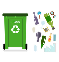 Glass recycling garbage can trash isolated flat vector